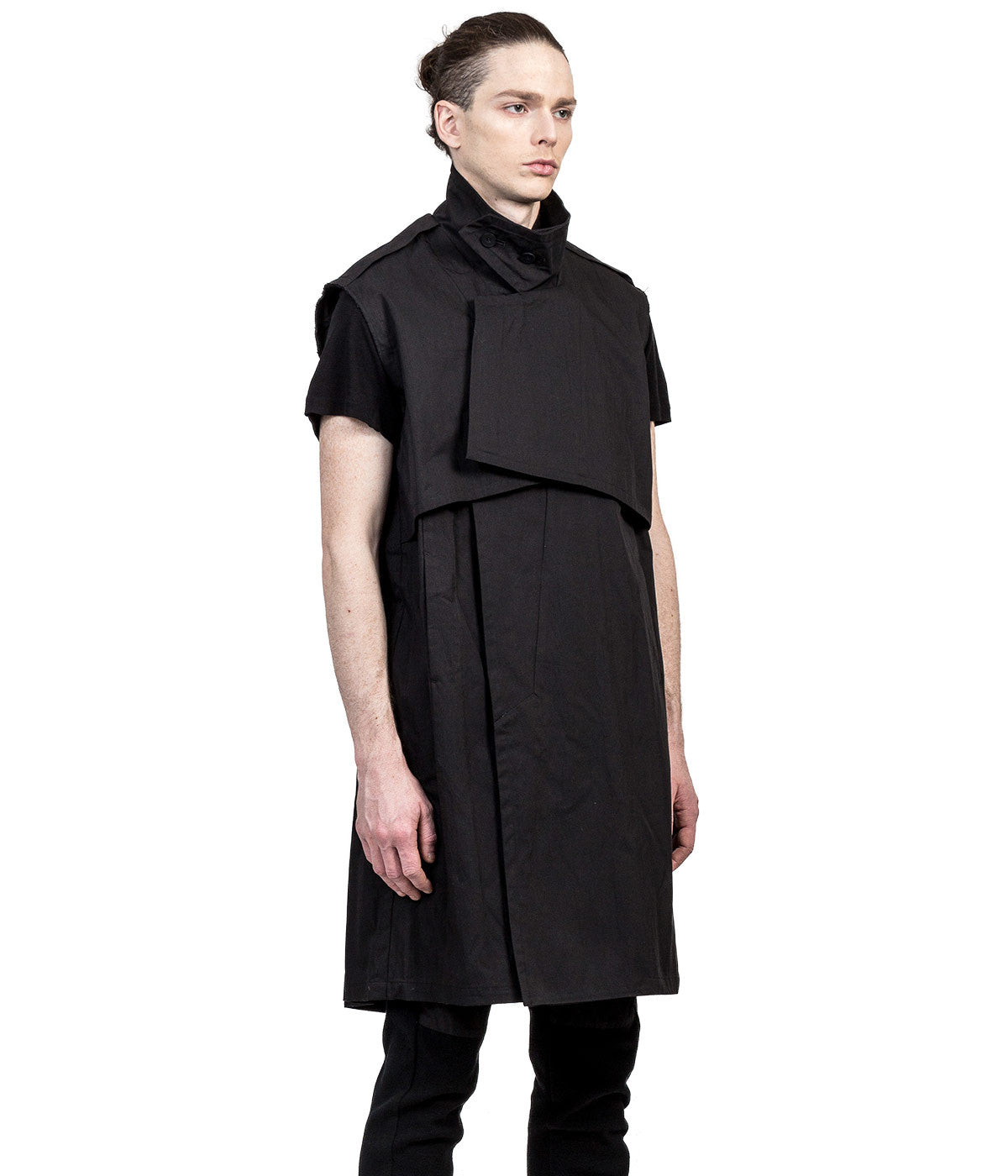 Black Layered Twill Coat