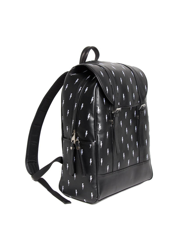 Black Leather Thunderbolt Backpack