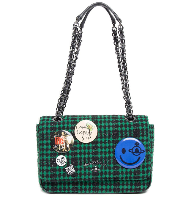 Green Tweed Shoulder Bag