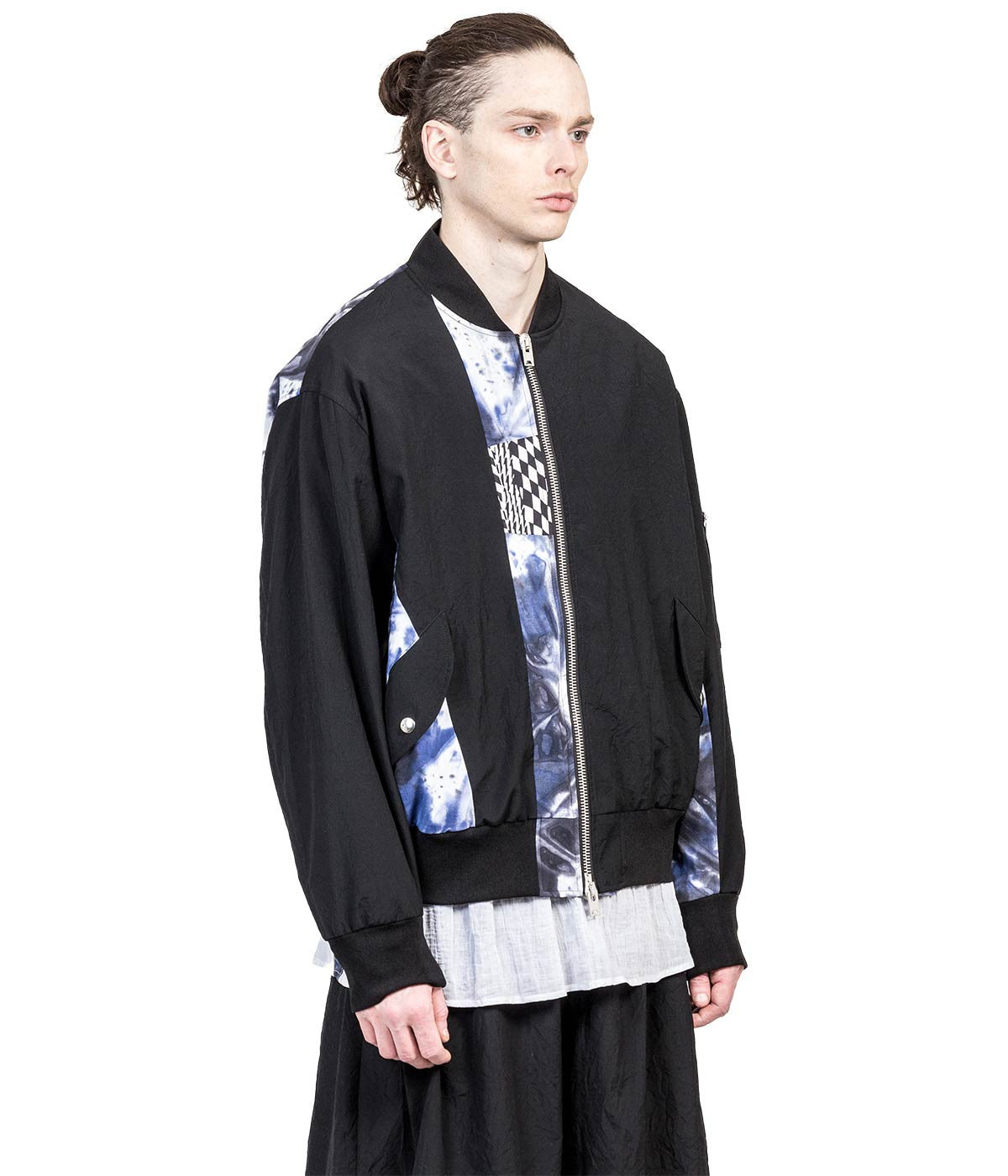 Black Wool Crepe Bomber Jacket