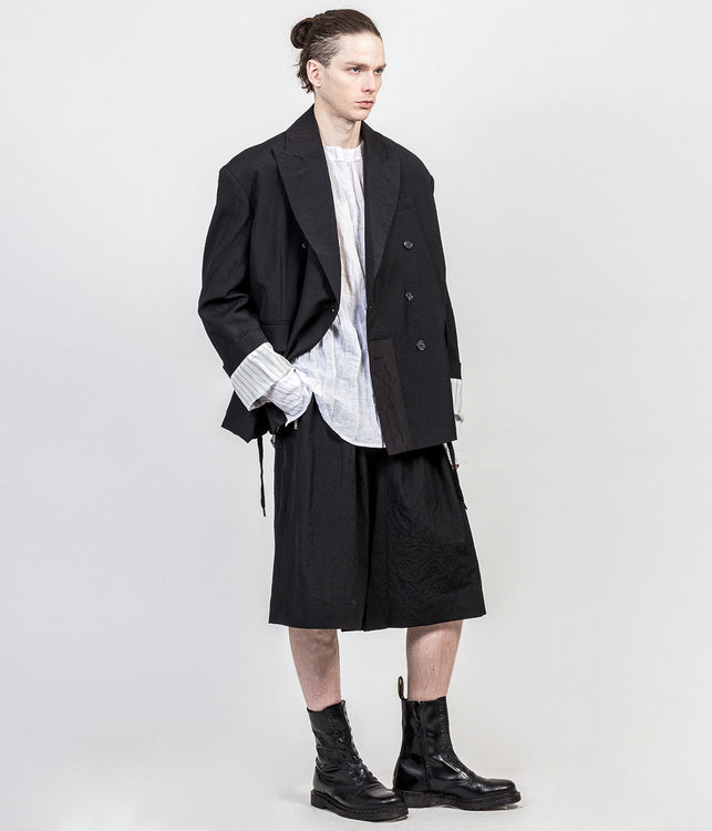 Black Oversized Wool Crepe Jacket
