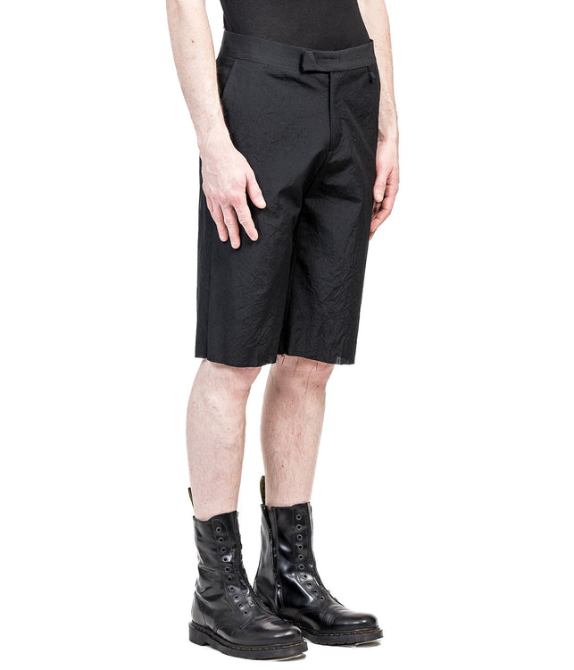 Black Wool Crepe Shorts