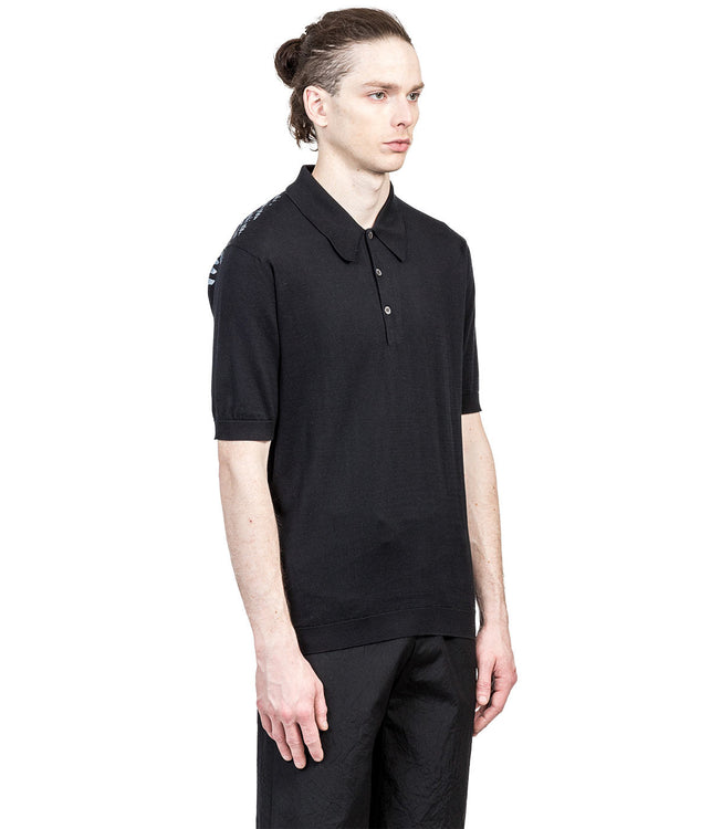 Black Knitted Polo T-Shirt