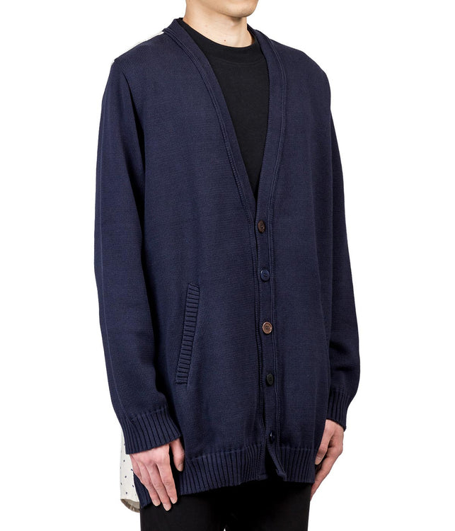 Navy Combined Material  Cardigan