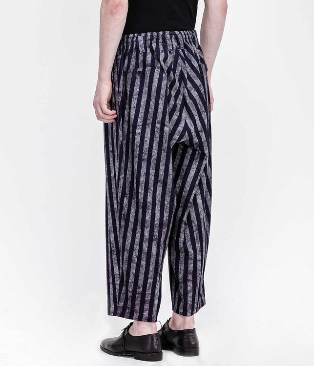 Navy Cropped Striped Culottes