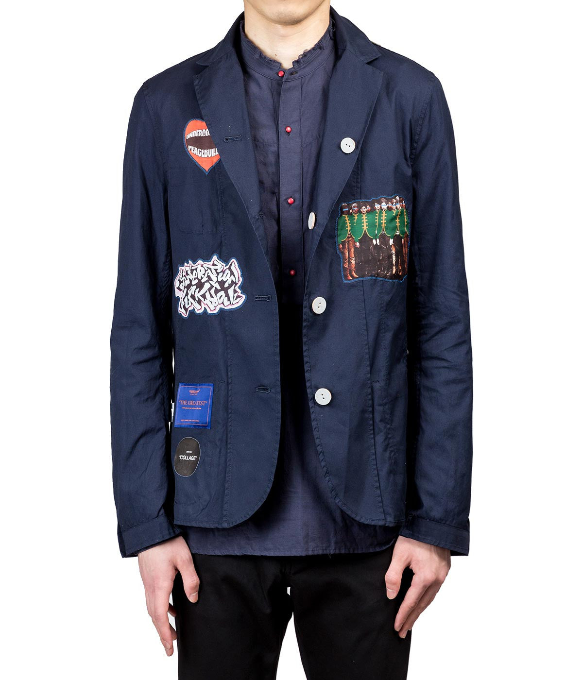 Navy Reversible Collage Blazer