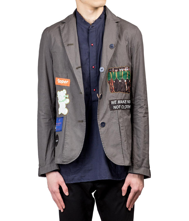 Khaki Reversible Collage Blazer