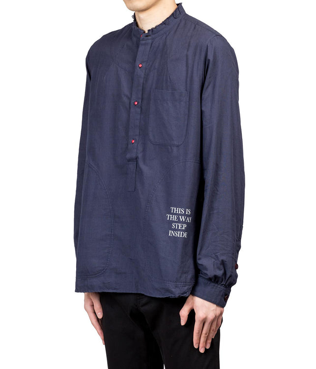 Navy Reversible Text Print Shirt