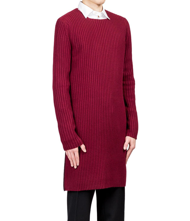 Dark Red Long Knitwear