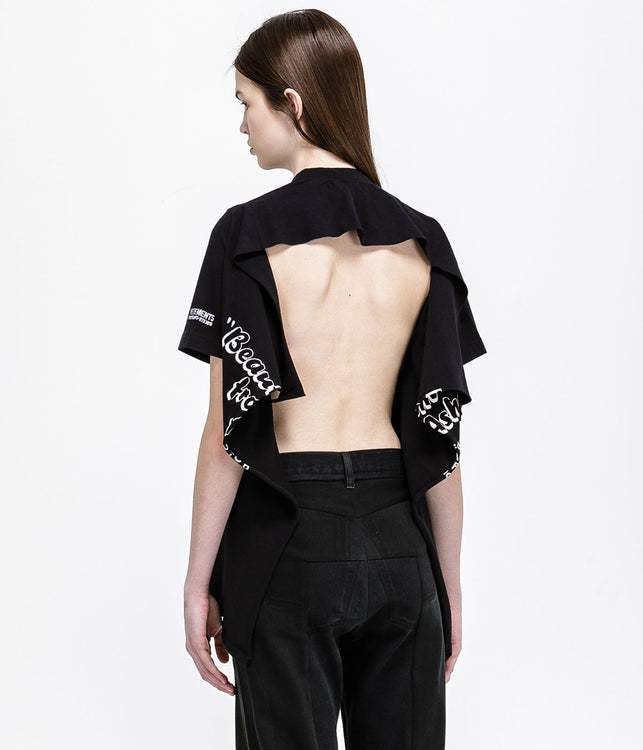 Black Open Back T-Shirt