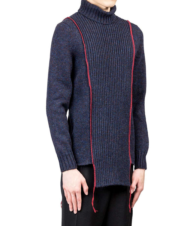 Navy Red Serged High Neck Sweater