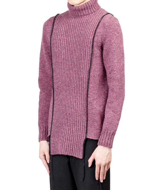 Pink Grey Serged High Neck Sweater