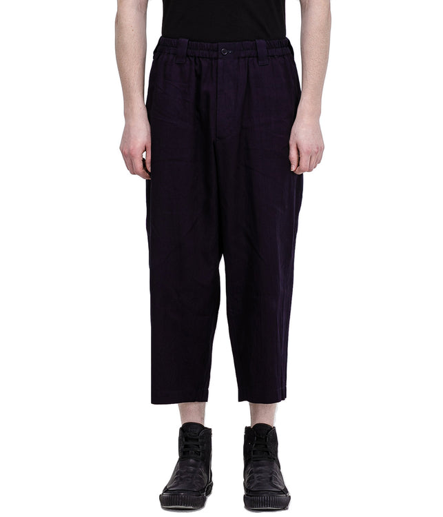 Black Elastic Cotton Pants