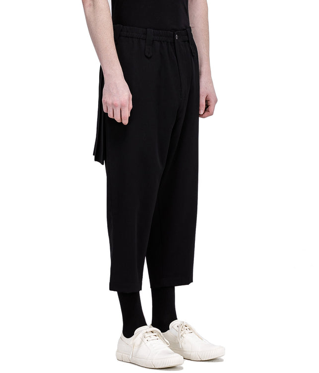 Black Pleated Wool Skirt Pants