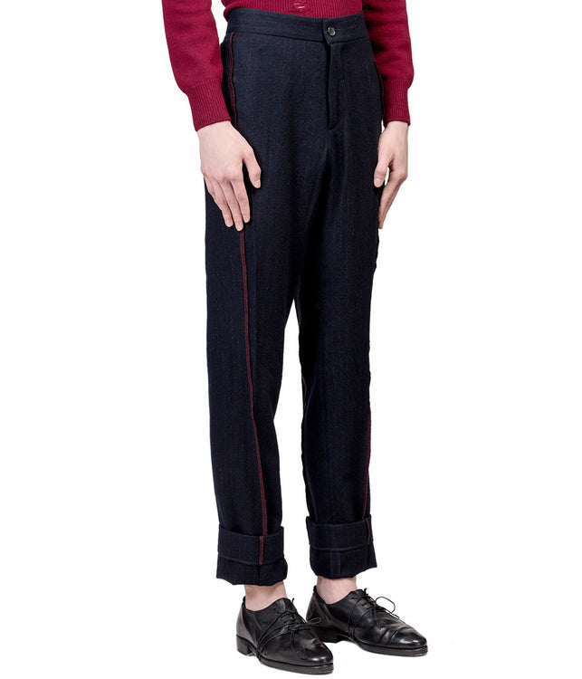 Navy Red Serged Pants
