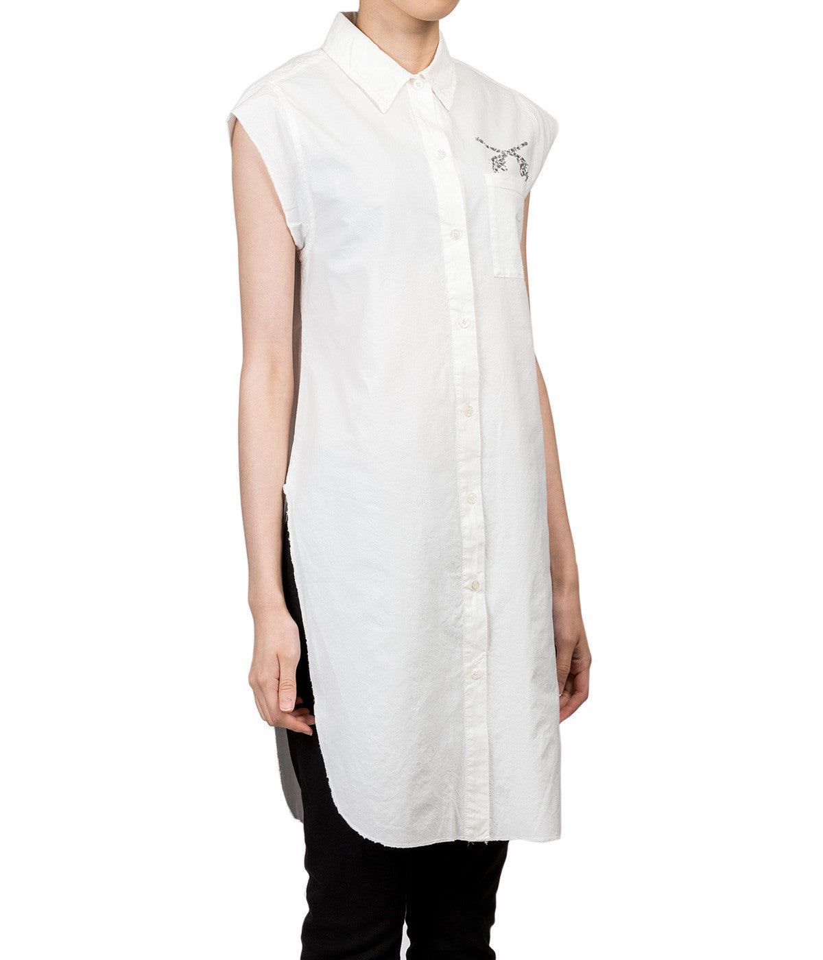 White ebellished crystal gun shirtdress