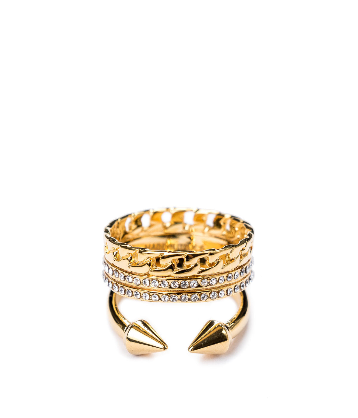 Gold Three Band Two Spikes Ring