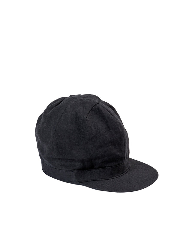 Black Linen Newsboy Cap Hat