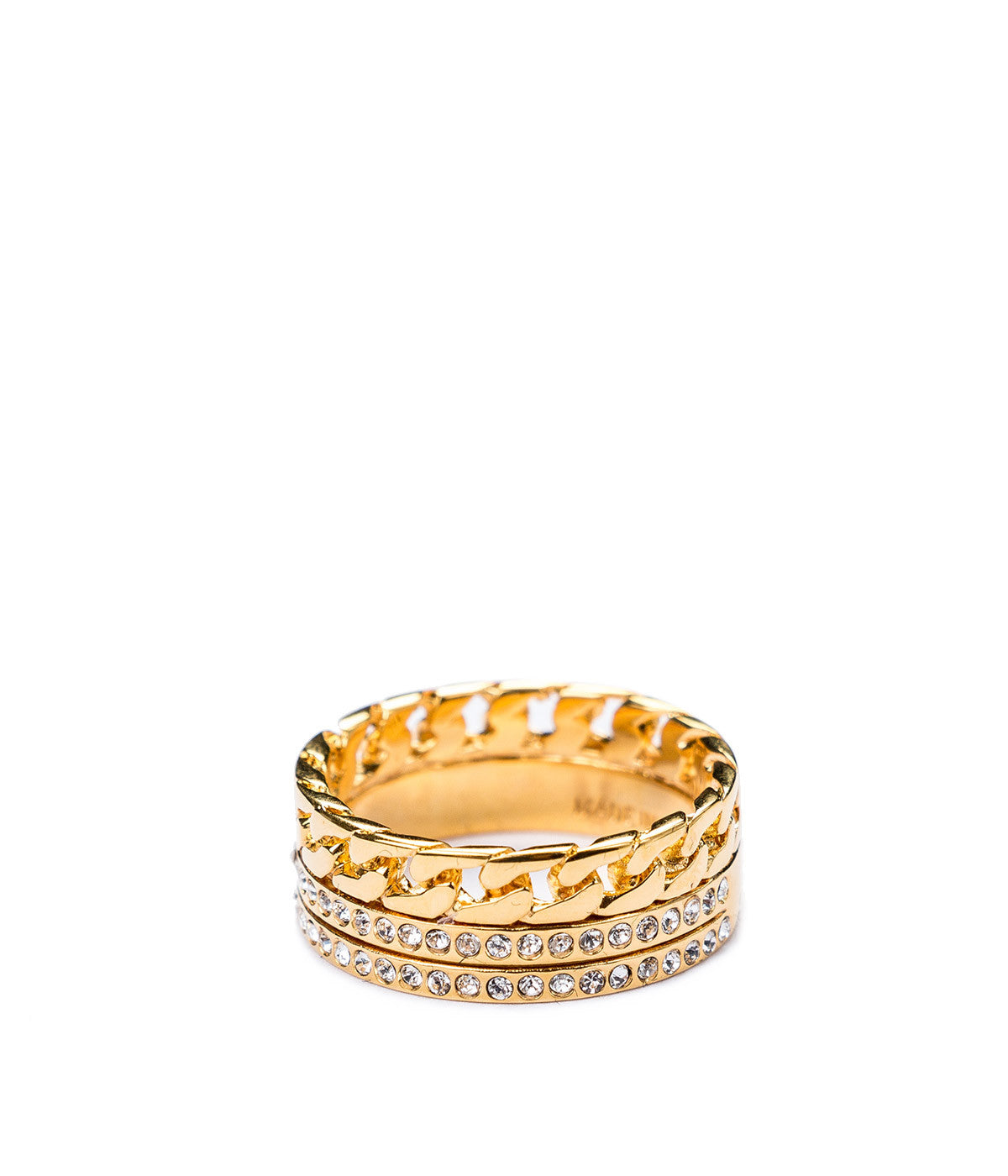 Gold Three Band Chain Ring
