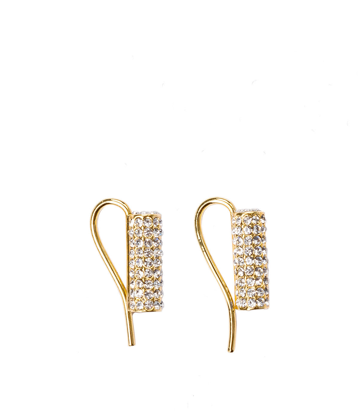 Gold Mia Cylinder Crystal Clip Earring