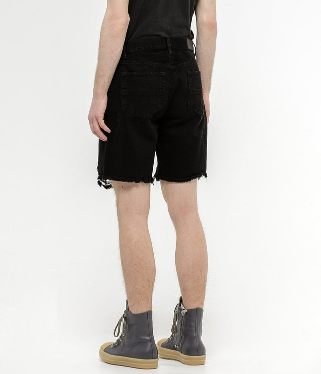 Black Thrasher Denim Shorts