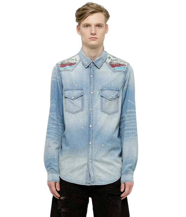 Light Blue Aloha Denim Shirt