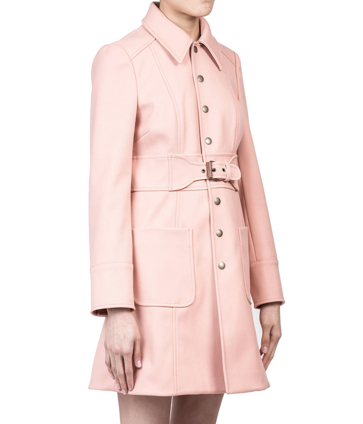 Rose Pink Belted Twill Coat