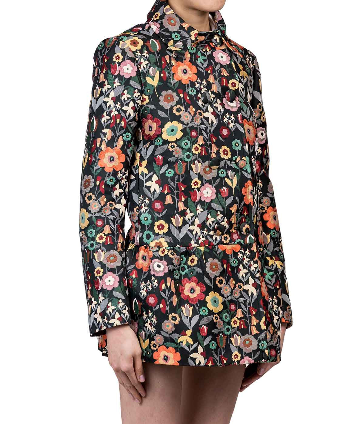 Flower Jacquard Button Coat