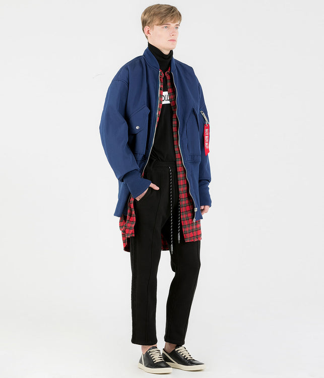 Navy Faux Mouton Bomber Jacket