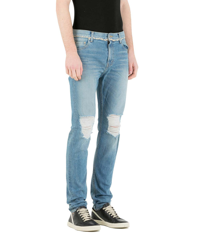 Blue Damaged Knee Skinny Jeans