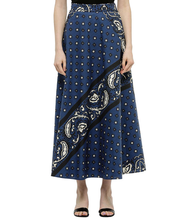 Blue Jacquard Wrap Skirt