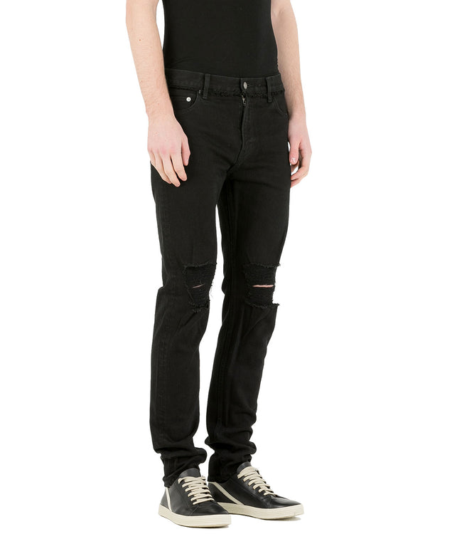 Black Damaged Knee Skinny Jeans