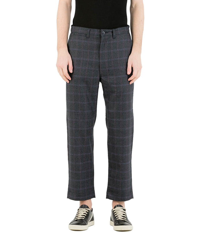 Dark Grey Checkered Wool Pants