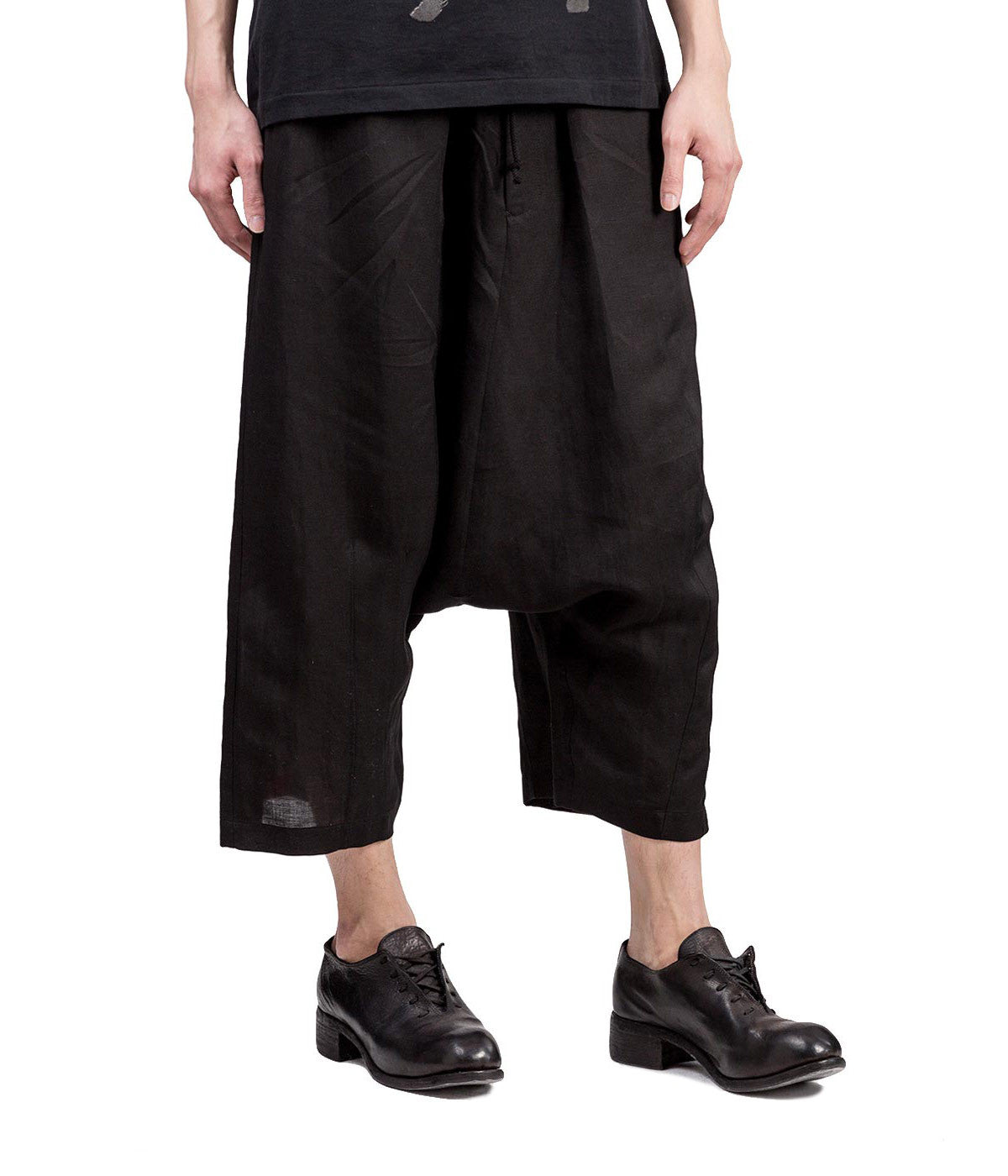 Black Drop Crotch Trousers with Red Stripes