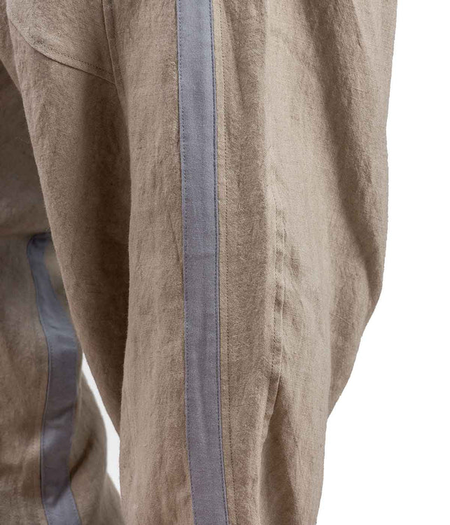 Drop Crotch Linen Trousers with Stripe