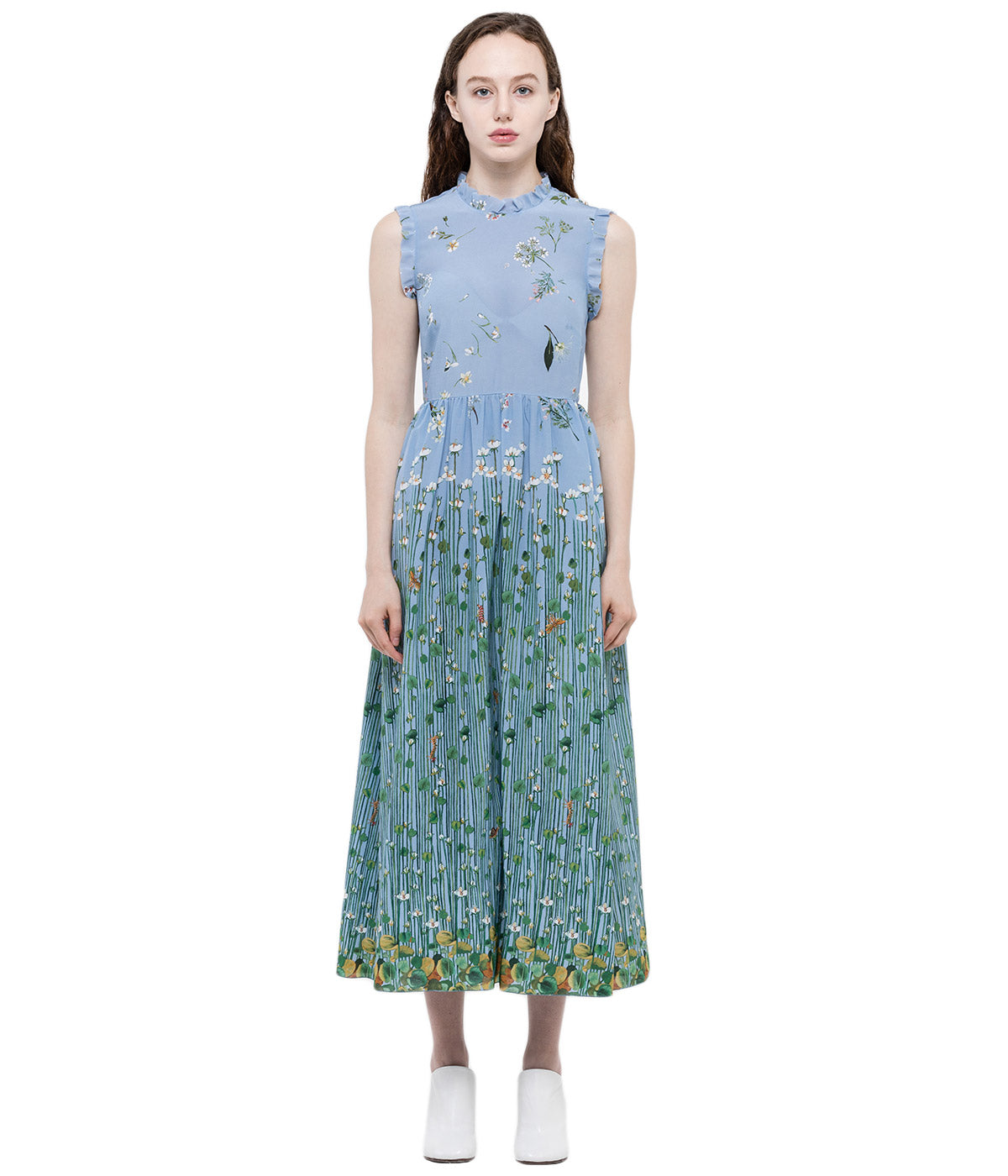 Blue Floral Print Summer Dress
