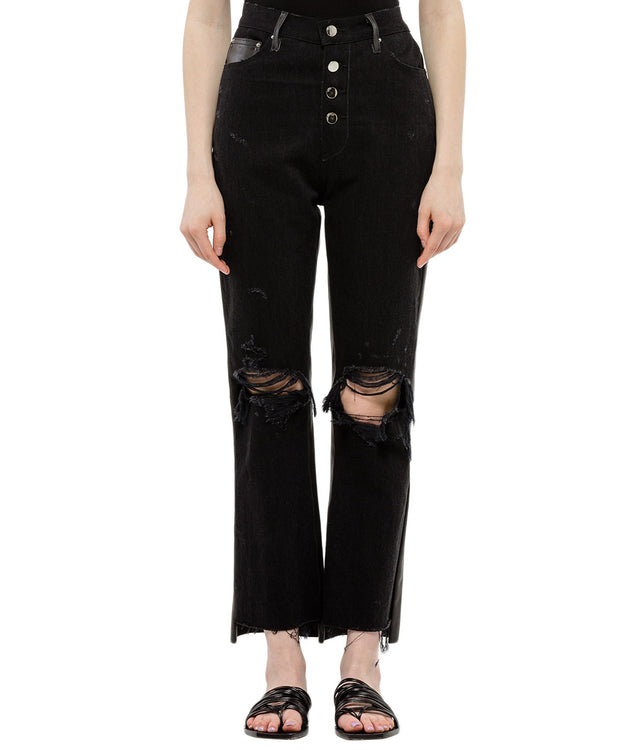 Black Leather Denim Jeans