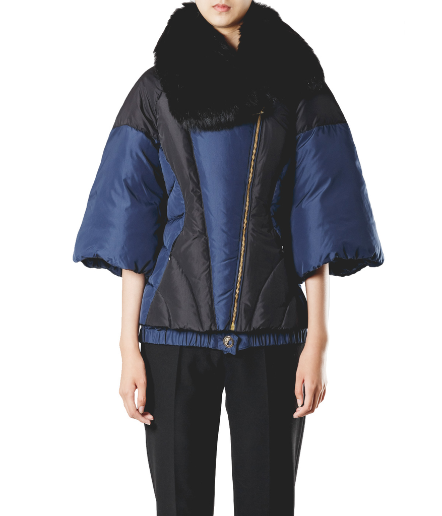 Quilted Puffer Coat with Fur