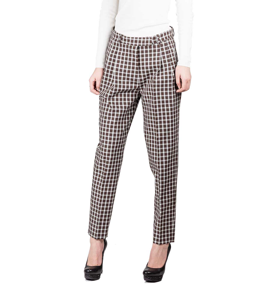Plaid Cigarette Trousers