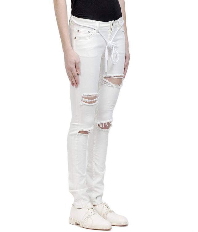 White Skinny Fit Denim Pants