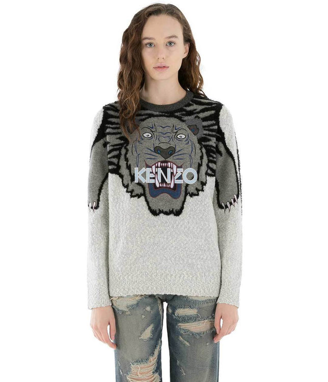 Grey Tiger Embroidery Jumper Sweater