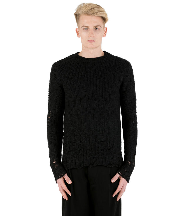 Black Distressed Alpaca Sweater