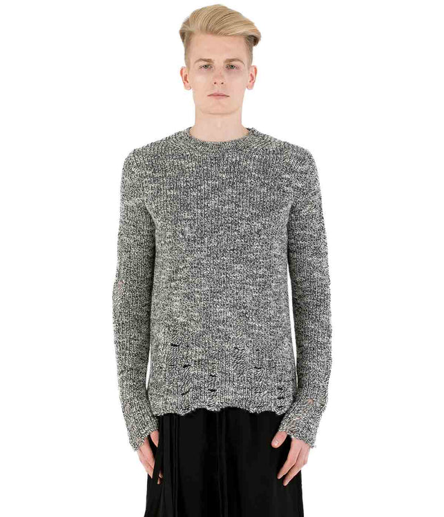 Grey Distressed Alpaca Sweater