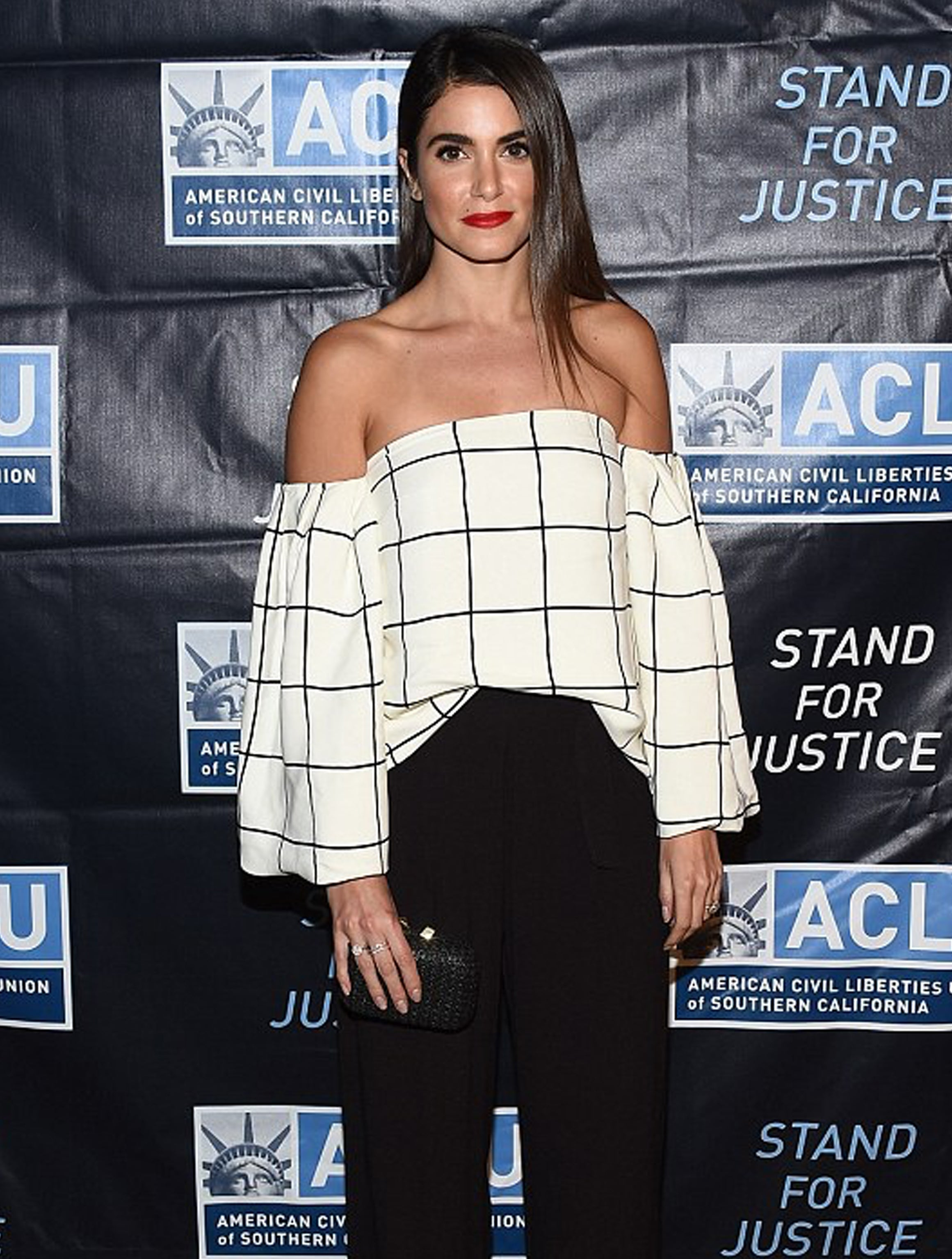 Nikki Reed stuns in white off-the-shoulder patterned top as she attends ACLU dinner in LA