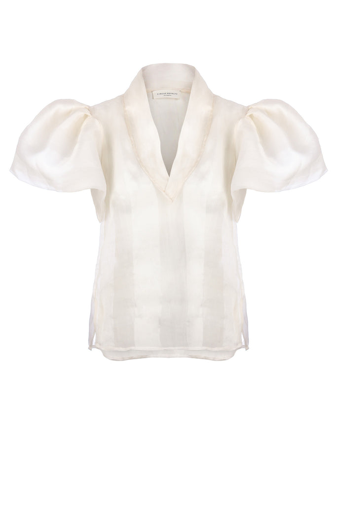 womens designer silk top in white