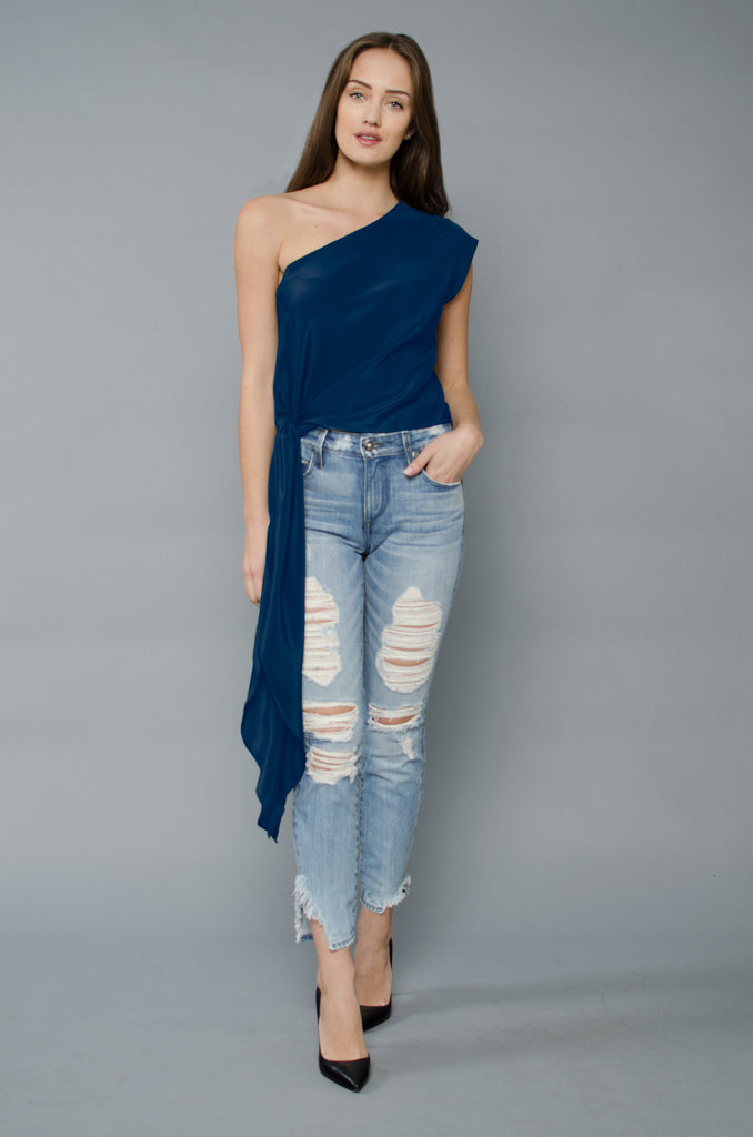 Ella One Shoulder - Indigo