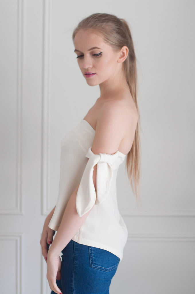 white off the shoulder womens top