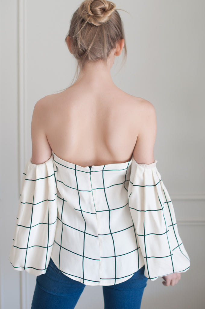 Niki Top - Cream/Black Check