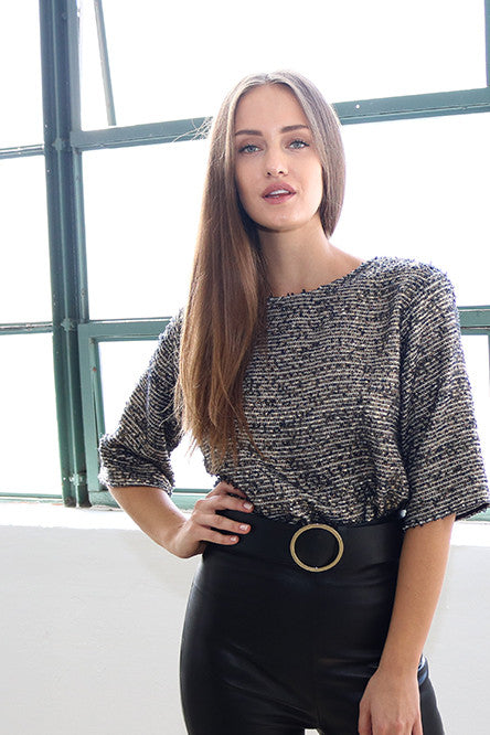 Women's Gold and Black Tweed Top