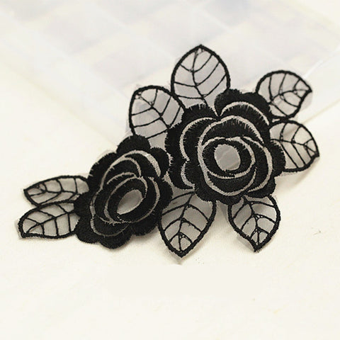 Black Flowers & Butterfly Patches